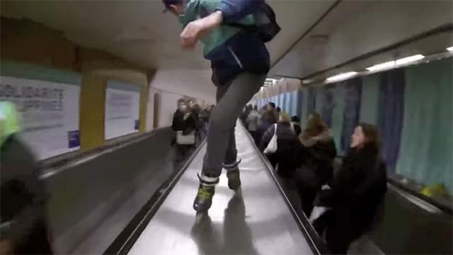 roller dans le metro